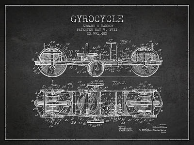 Bicycle Drawing - 1911 Gyrocycle Patent - Charcoal by Aged Pixel