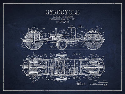 Bicycle Drawing - 1911 Gyrocycle Patent - Navy Blue by Aged Pixel