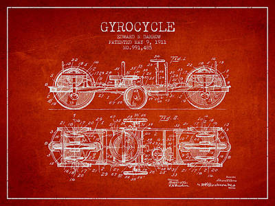 Bicycle Drawing - 1911 Gyrocycle Patent - Red by Aged Pixel