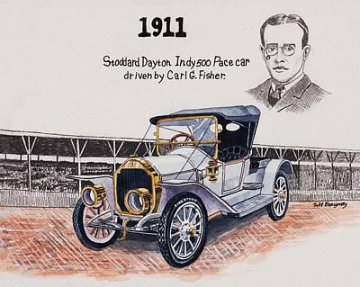 Painting - 1911 Indy 500 Pace Car by Jeff Blazejovsky