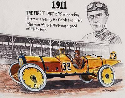 Painting - 1911 Indy 500 Winner by Jeff Blazejovsky