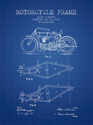 Bike Drawing - 1911 Motorcycle Frame Patent - Blueprint by Aged Pixel