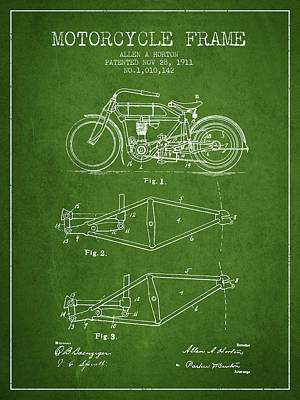 Bike Drawing - 1911 Motorcycle Frame Patent - Green by Aged Pixel