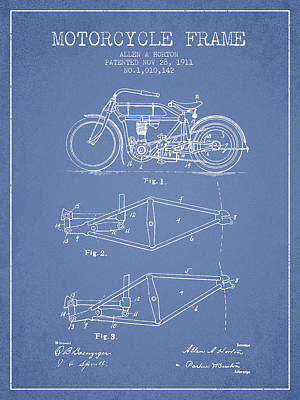 Bike Drawing - 1911 Motorcycle Frame Patent - Light Blue by Aged Pixel