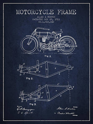 Bike Drawing - 1911 Motorcycle Frame Patent - Navy Blue by Aged Pixel