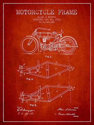 Bike Drawing - 1911 Motorcycle Frame Patent - Red by Aged Pixel