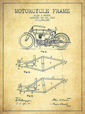 Bike Drawing - 1911 Motorcycle Frame Patent - Vintage by Aged Pixel