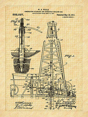 Drawing - 1911 Oil Well Patent by Barry Jones