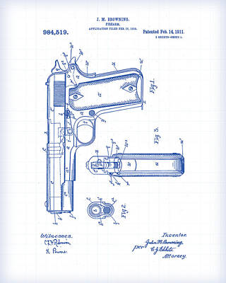 Painting - 1911 Pistol Patent Drawing by Gary Grayson