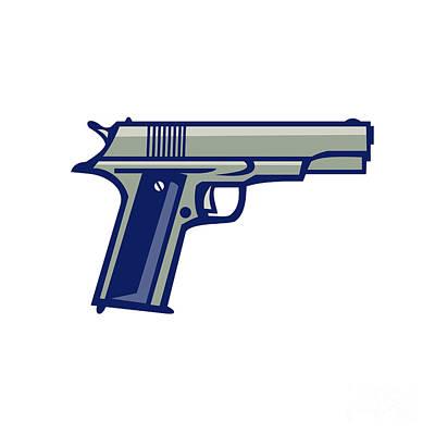 Cartridge Digital Art - 1911 Semi-automatic Pistol Side Retro by Aloysius Patrimonio