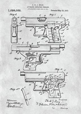 Drawing - 1912 Automatic Handgun  by Dan Sproul
