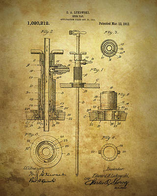 Drawing - 1912 Beer Tap Patent by Dan Sproul