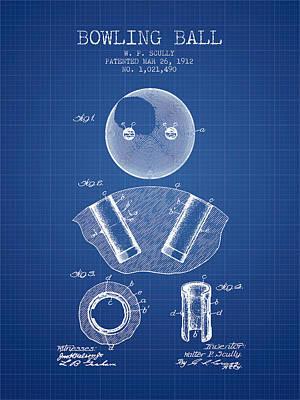 1912 Bowling Ball Patent - Blueprint Art Print
