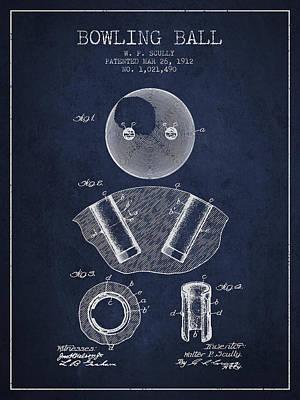 1912 Bowling Ball Patent - Navy Blue Art Print