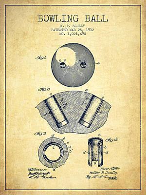 Bowling Digital Art - 1912 Bowling Ball Patent - Vintage by Aged Pixel