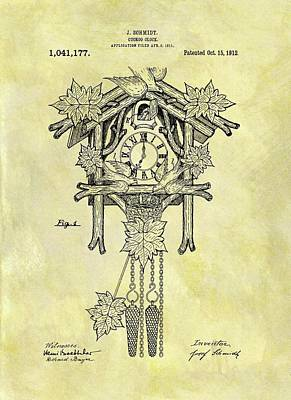 Cuckoo Mixed Media - 1912 Cuckoo Clock Patent by Dan Sproul