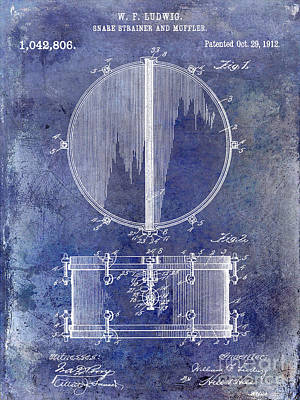 1912 Ludwig Drum Patent  Blue Art Print by Jon Neidert