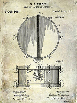 Bass Drum Photograph - 1912 Ludwig Drum Patent  by Jon Neidert