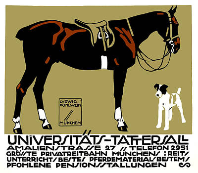 Dressage Wall Art - Digital Art - 1912 Ludwig Hohlwein Horse Riding Poster Art  by Retro Graphics