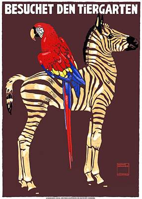 Macaw Digital Art - 1912 Ludwig Hohlwein Visit The Zoo Zebra Macaw Poster by Retro Graphics