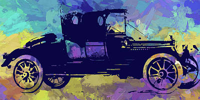 Digital Art - 1912 Packard Roadster Abstract by David King