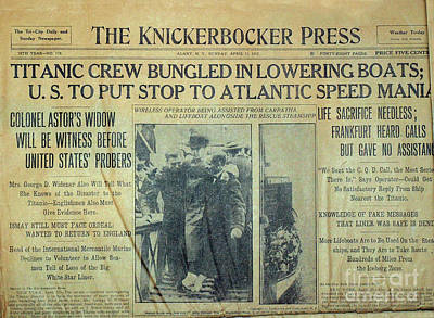 Titanic Photograph - 1912 Titanic Newspaper by Jon Neidert