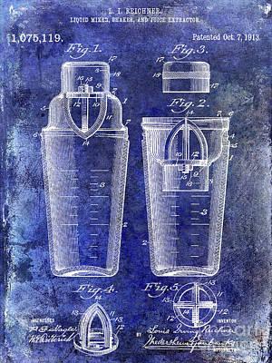 Martini Shaker Photograph - 1913 Cocktail Shaker Patent Blue by Jon Neidert
