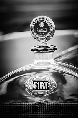 Photograph - 1913 Fiat Type 56 7 Passenger Touring Hood Ornament -1999bw by Jill Reger