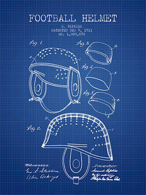 1913 Football Helmet Patent - Blueprint Art Print by Aged Pixel