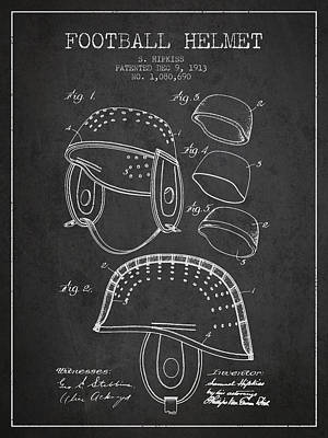1913 Football Helmet Patent - Charcoal Art Print by Aged Pixel