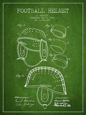 Nfl Player Drawings Drawing - 1913 Football Helmet Patent - Green by Aged Pixel