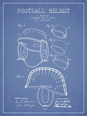Nfl Player Drawings Drawing - 1913 Football Helmet Patent - Light Blue by Aged Pixel