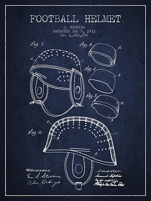 Nfl Player Drawings Drawing - 1913 Football Helmet Patent - Navy Blue by Aged Pixel