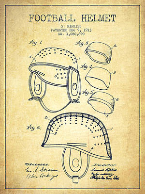 Nfl Player Drawings Drawing - 1913 Football Helmet Patent - Vintage by Aged Pixel