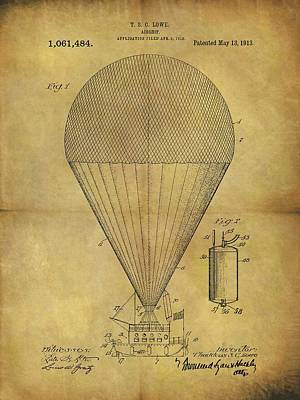 Aviators Drawing - 1913 Hot Air Balloon Patent by Dan Sproul