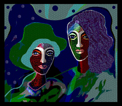 Digital Art - 1913 Dark Ladies In Green 2017 by Irmgard Schoendorf Welch