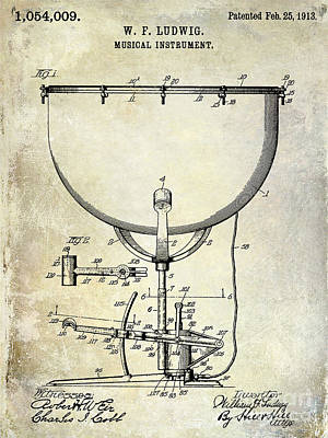 Bass Drum Photograph - 1913 Ludwig Drum Patent  by Jon Neidert