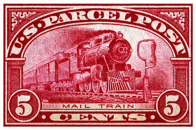 Painting - 1913 Mail Train Stamp by Historic Image