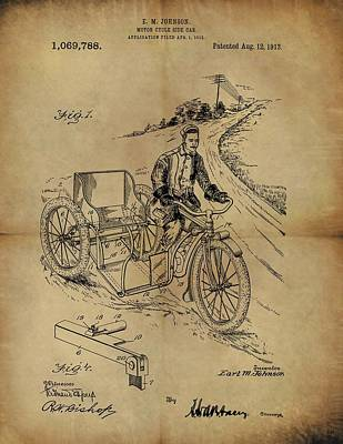 Motorcycle Drawing - 1913 Motorcycle Sidecar Patent by Dan Sproul