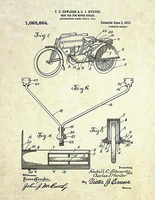 Sidecar Digital Art - 1913 Motorcycle Sidecar Patent by Gary Bodnar
