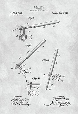 Drawing - 1913 Wrench Patent Illustration by Dan Sproul
