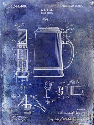 1914 Beer Stein Patent Blue Art Print by Jon Neidert