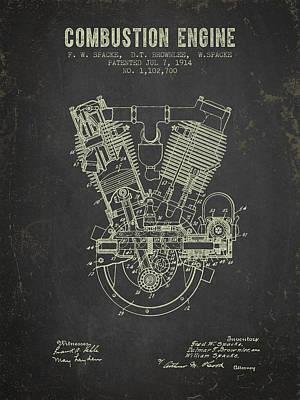 1914 Compustion Engine Patent - Dark Grunge Art Print by Aged Pixel