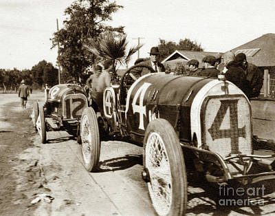 Photograph -  1914 Corona, Calif. Road Race. Race Car # 4 Eddie Pullen, Merce by California Views Mr Pat Hathaway Archives