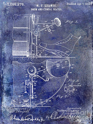 1914 Drum And Cymbal Patent Blue Art Print by Jon Neidert