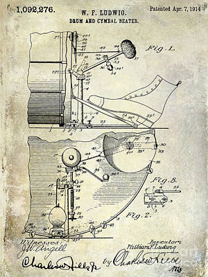 Bass Drum Photograph - 1914 Drum And Cymbal Patent by Jon Neidert