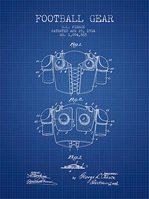 1914 Football Gear Patent - Blueprint Art Print by Aged Pixel