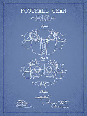 1914 Football Gear Patent - Light Blue Art Print by Aged Pixel