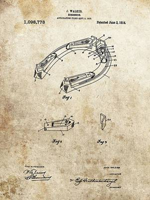 Animals Drawings - 1914 Horseshoe Patent by Dan Sproul