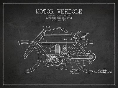 Transportation Digital Art - 1914 Motor Vehicle Patent - charcoal by Aged Pixel